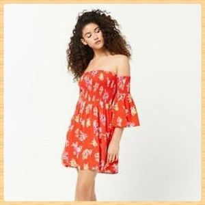 New Forever21 Red Floral Woven Dress
